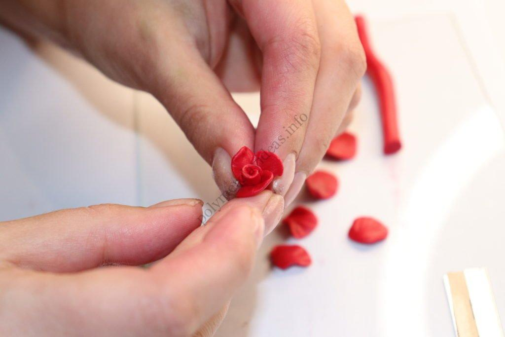 10 polymer clay flower rose. Photo tutorial