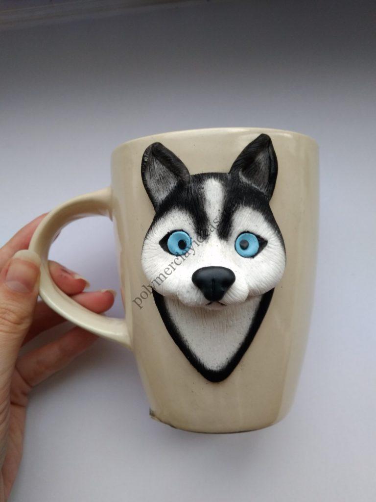 10 Polymer Clay Cup Decor idea: Husky Dog. Photo tutorial