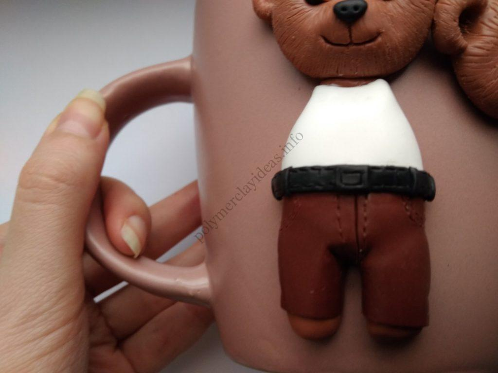 10 Polymer clay cup decor: A couple of bears