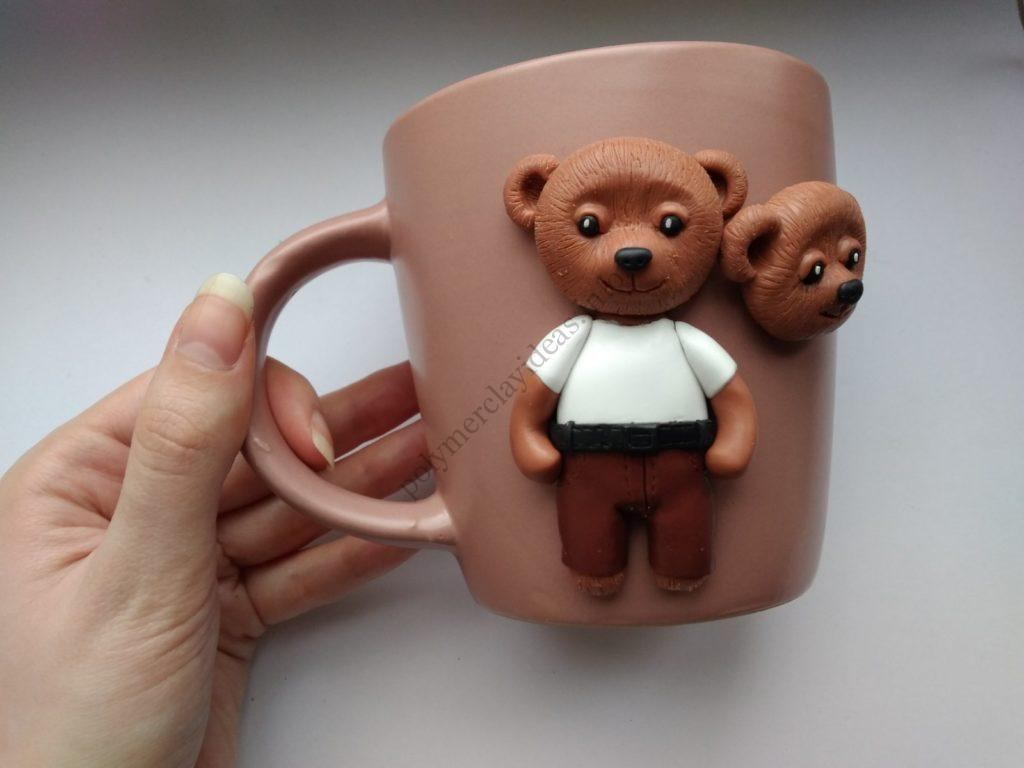 11 Polymer clay cup decor: A couple of bears