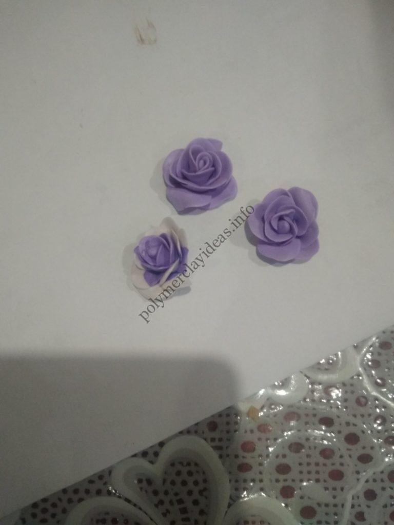 12 Polymer clay decor: Ice cream cone with roses and sweets