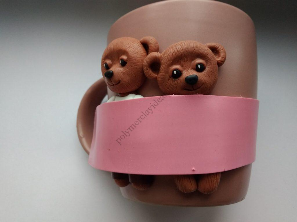 13 Polymer clay cup decor: A couple of bears