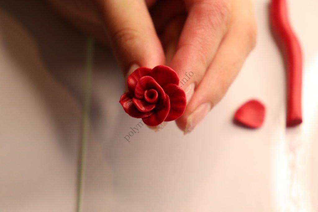 Polymer clay flower rose. Photo tutorial