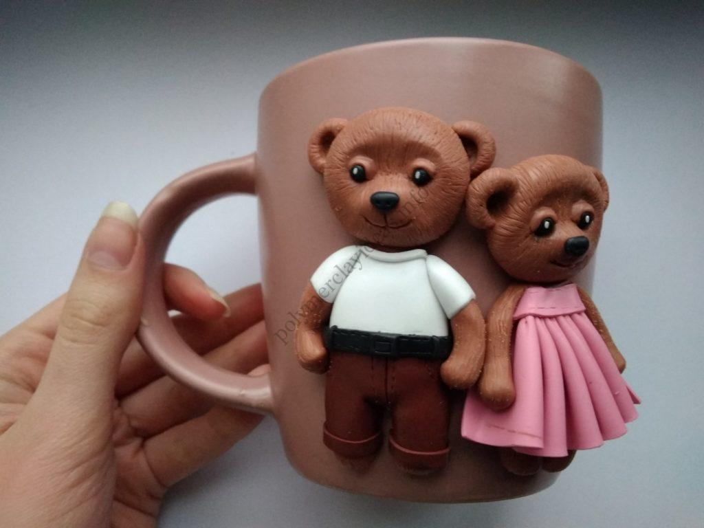 15 Polymer clay cup decor: A couple of bears