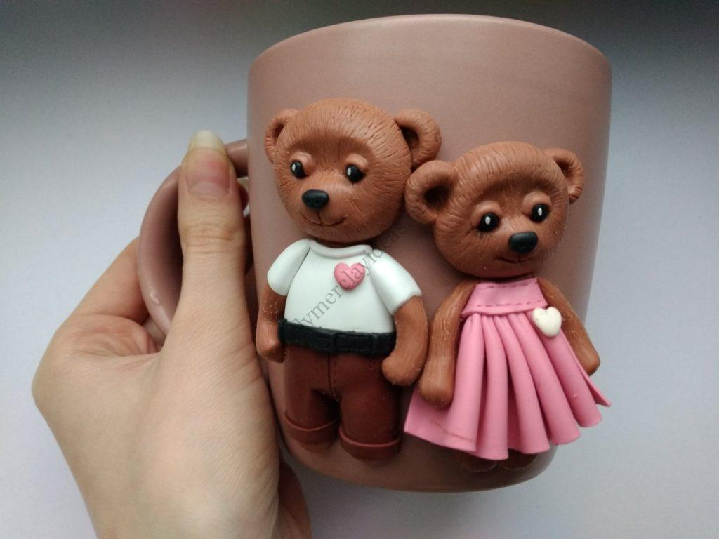 16 Polymer clay cup decor: A couple of bears