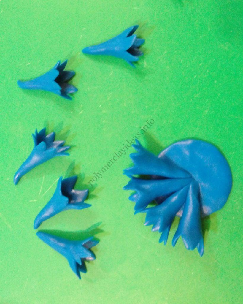 2 Polymer clay flower of cornflower. Photo tutorial