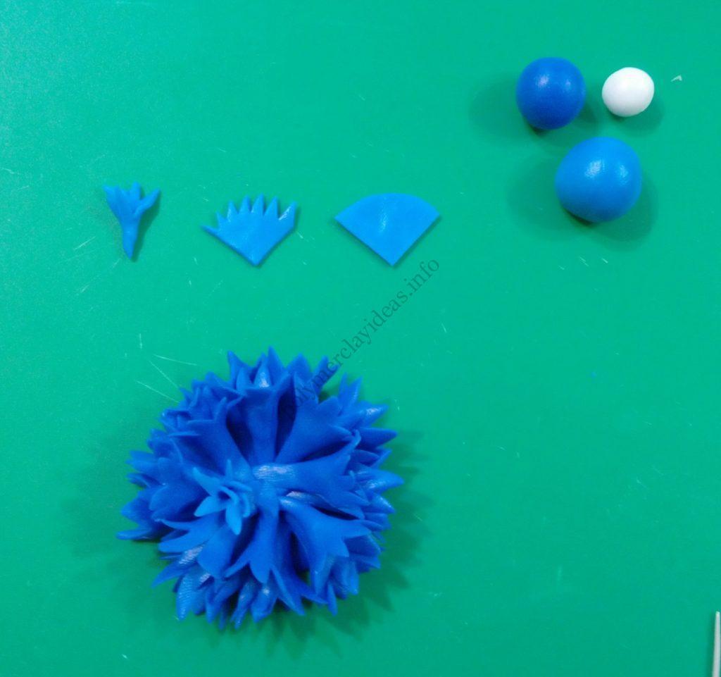 3 Polymer clay flower of cornflower. Photo tutorial