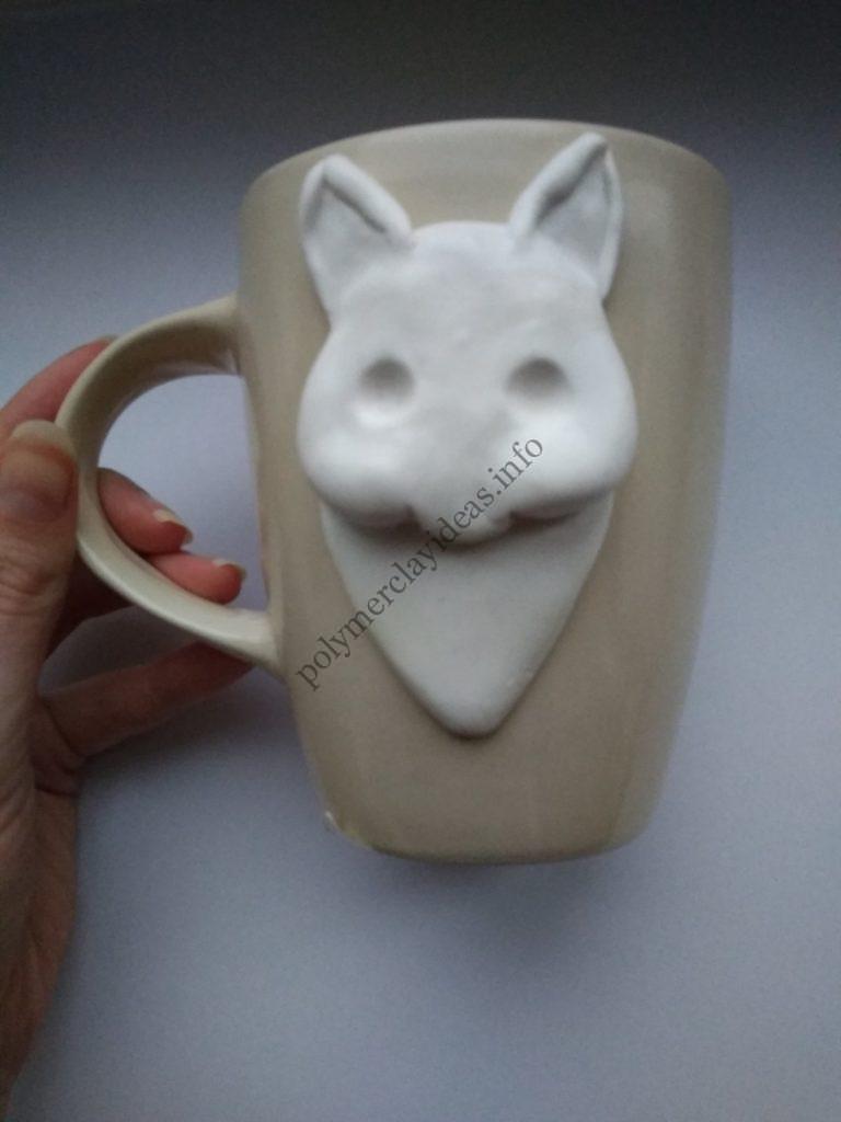 4 Polymer Clay Cup Decor idea: Husky Dog. Photo tutorial