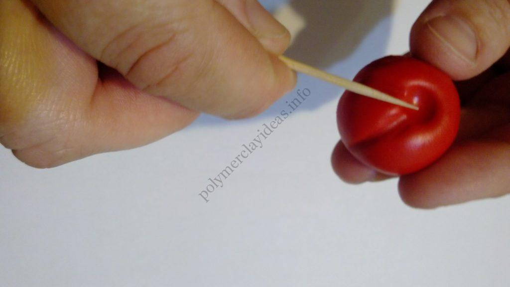 4 Polymer clay tomato. Photo tutorial on polymer clay food