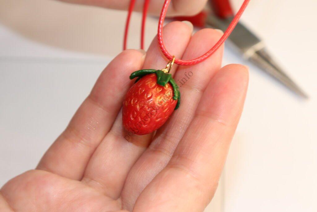 Polymer clay charms 'Strawberry'