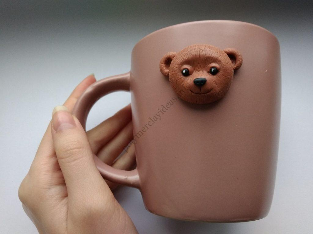 5 Polymer clay cup decor: A couple of bears