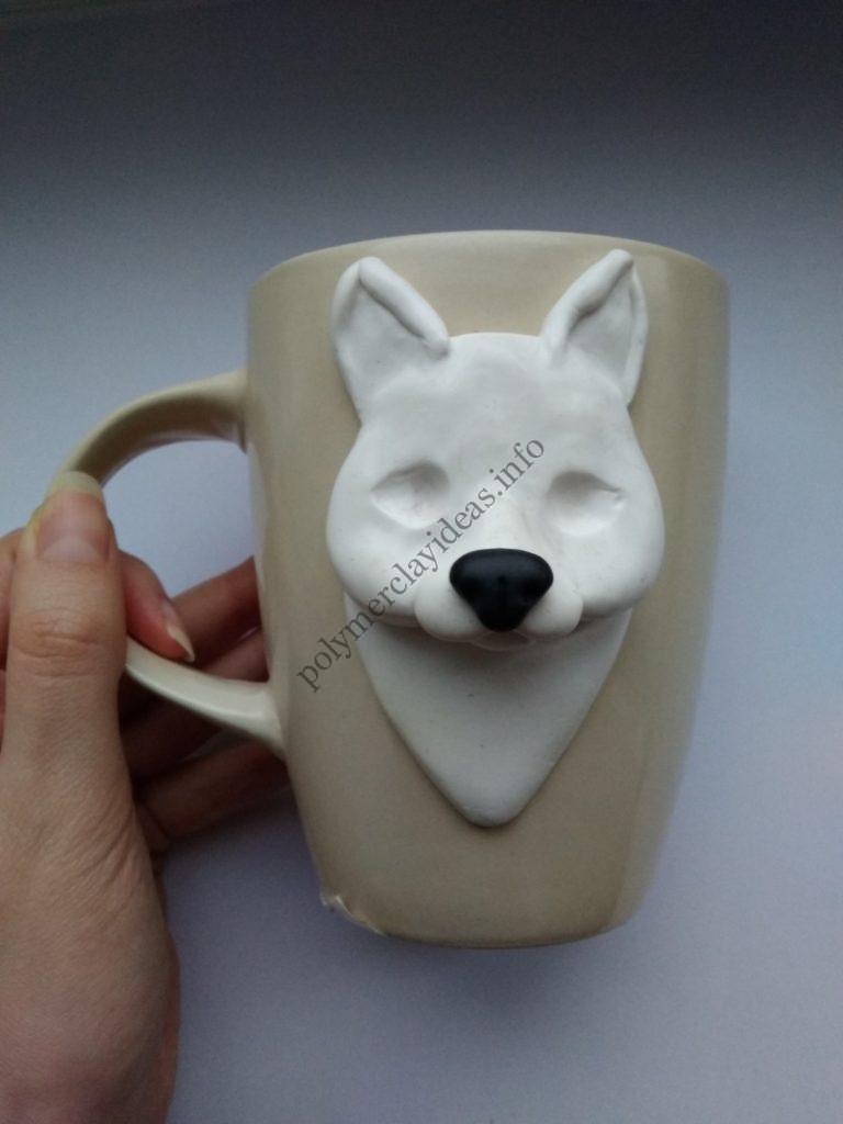 6 Polymer Clay Cup Decor idea: Husky Dog. Photo tutorial