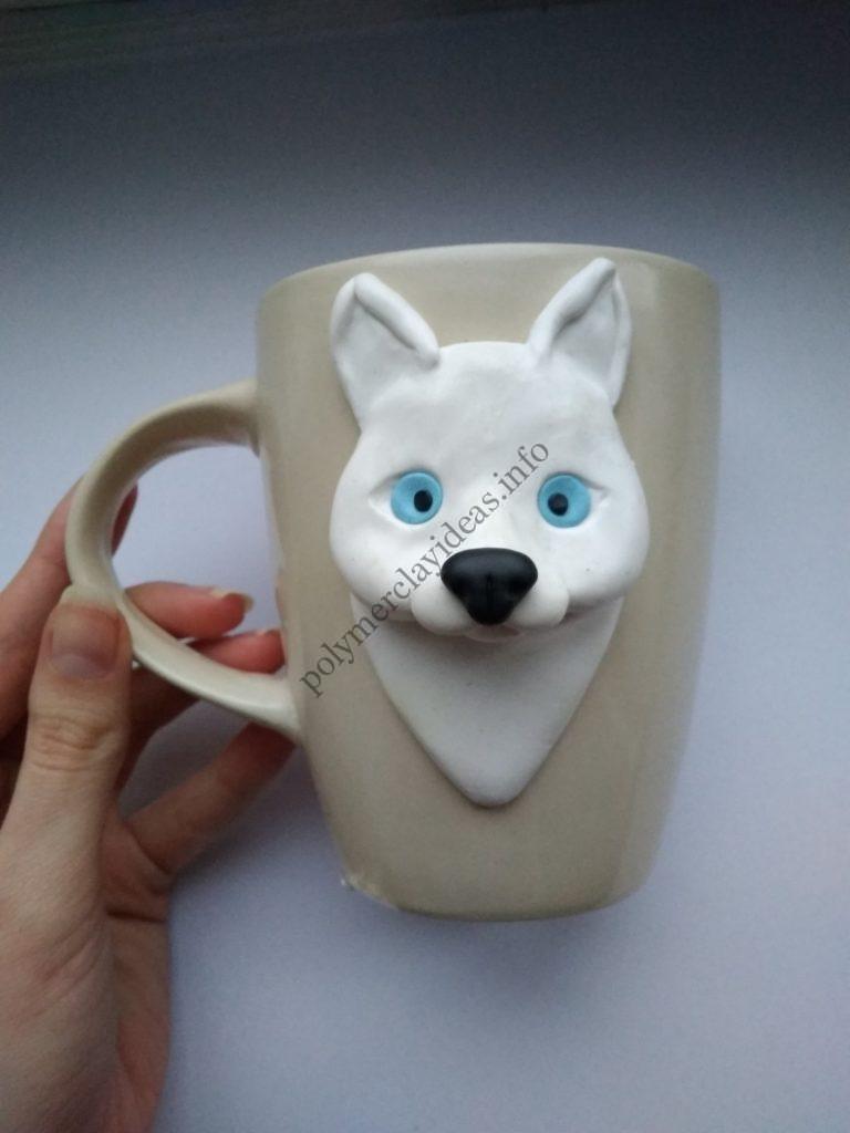 7 Polymer Clay Cup Decor idea: Husky Dog. Photo tutorial