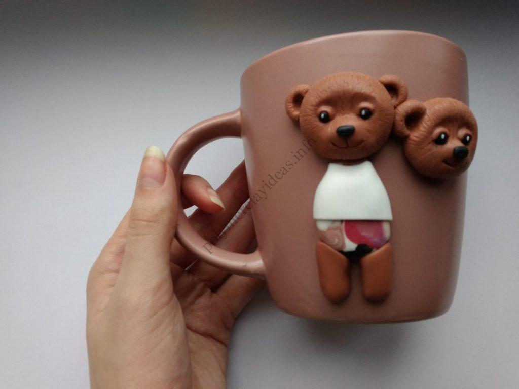 8 Polymer clay cup decor: A couple of bears