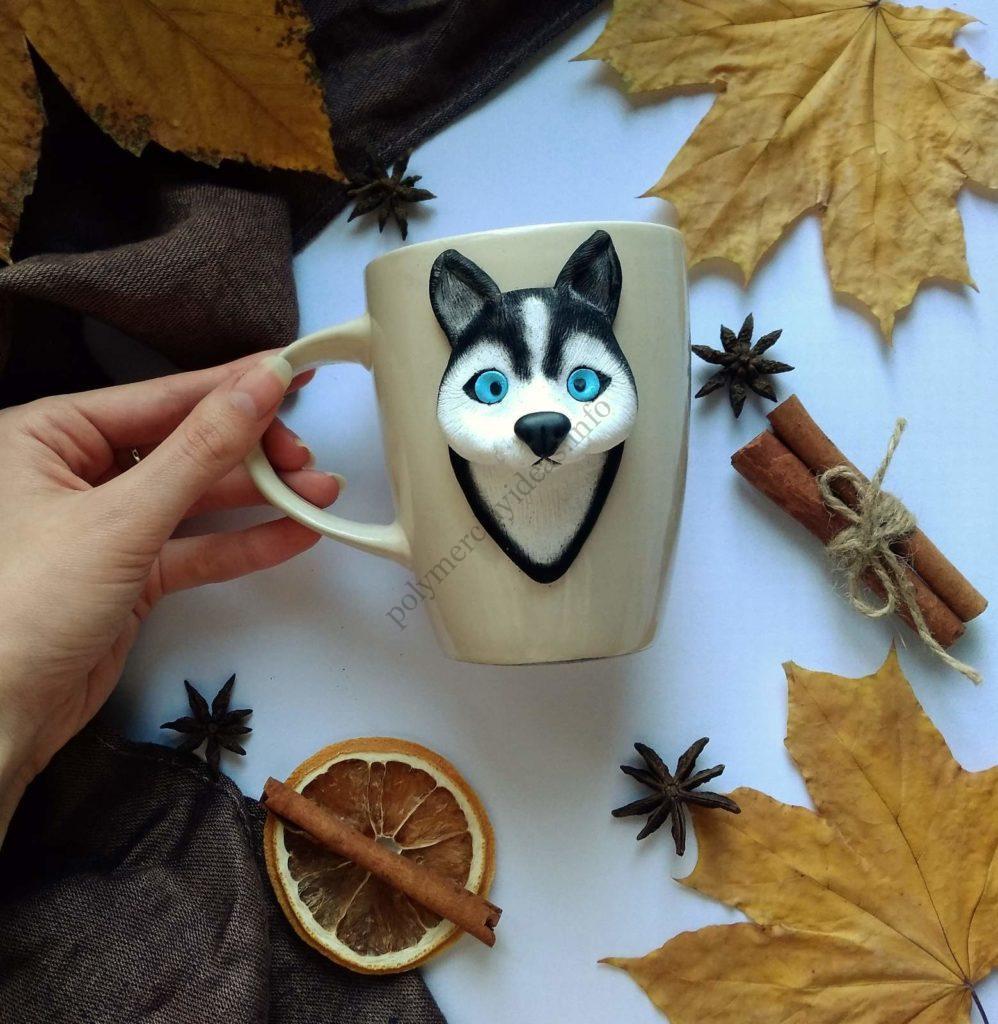 Polymer Clay Cup Decor idea: Husky Dog. Photo tutorial