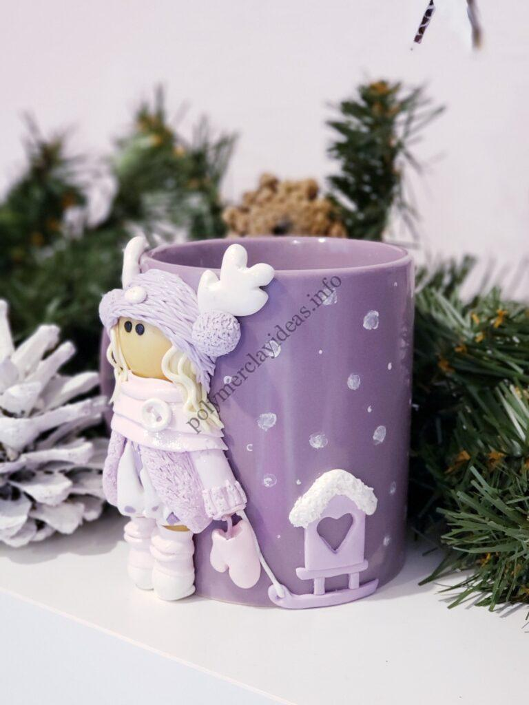10 Polymer clay decor: Doll dressed up in winter clothes