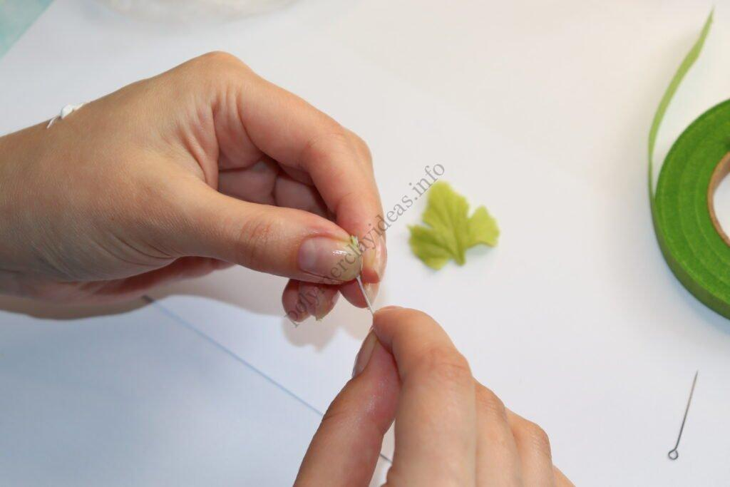 14 Anemone leaf or white and red currant leaf made from polymer clay