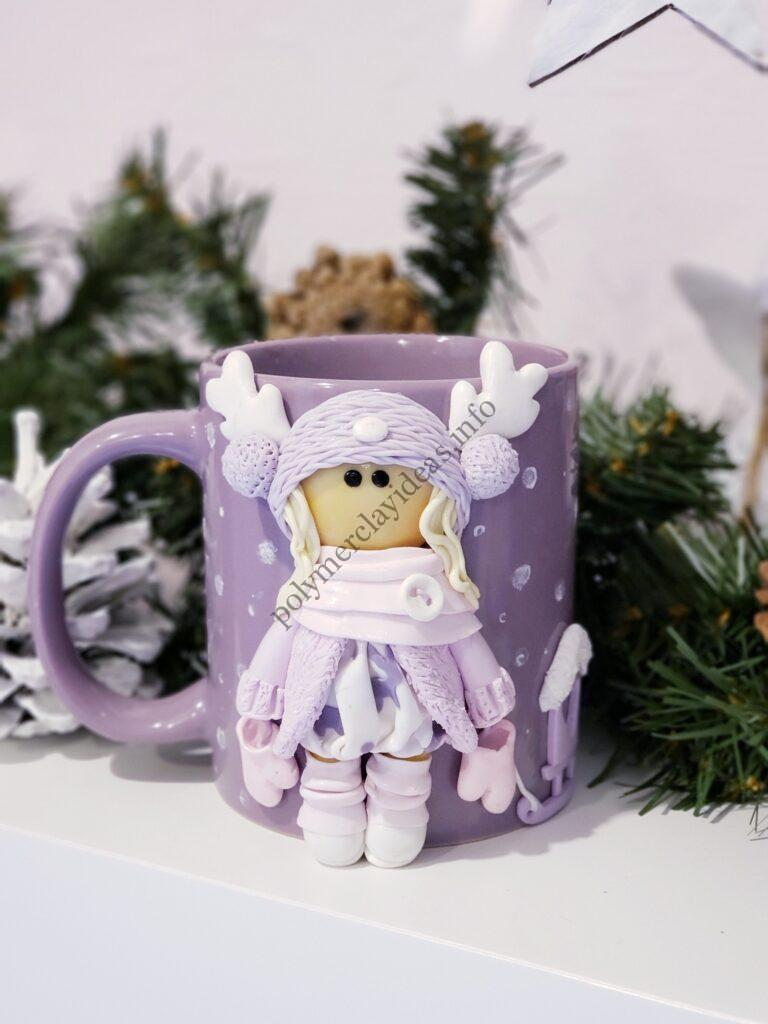 9 Polymer clay decor: Doll dressed up in winter clothes