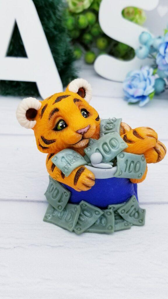 24 Polymer clay cute tiger cub