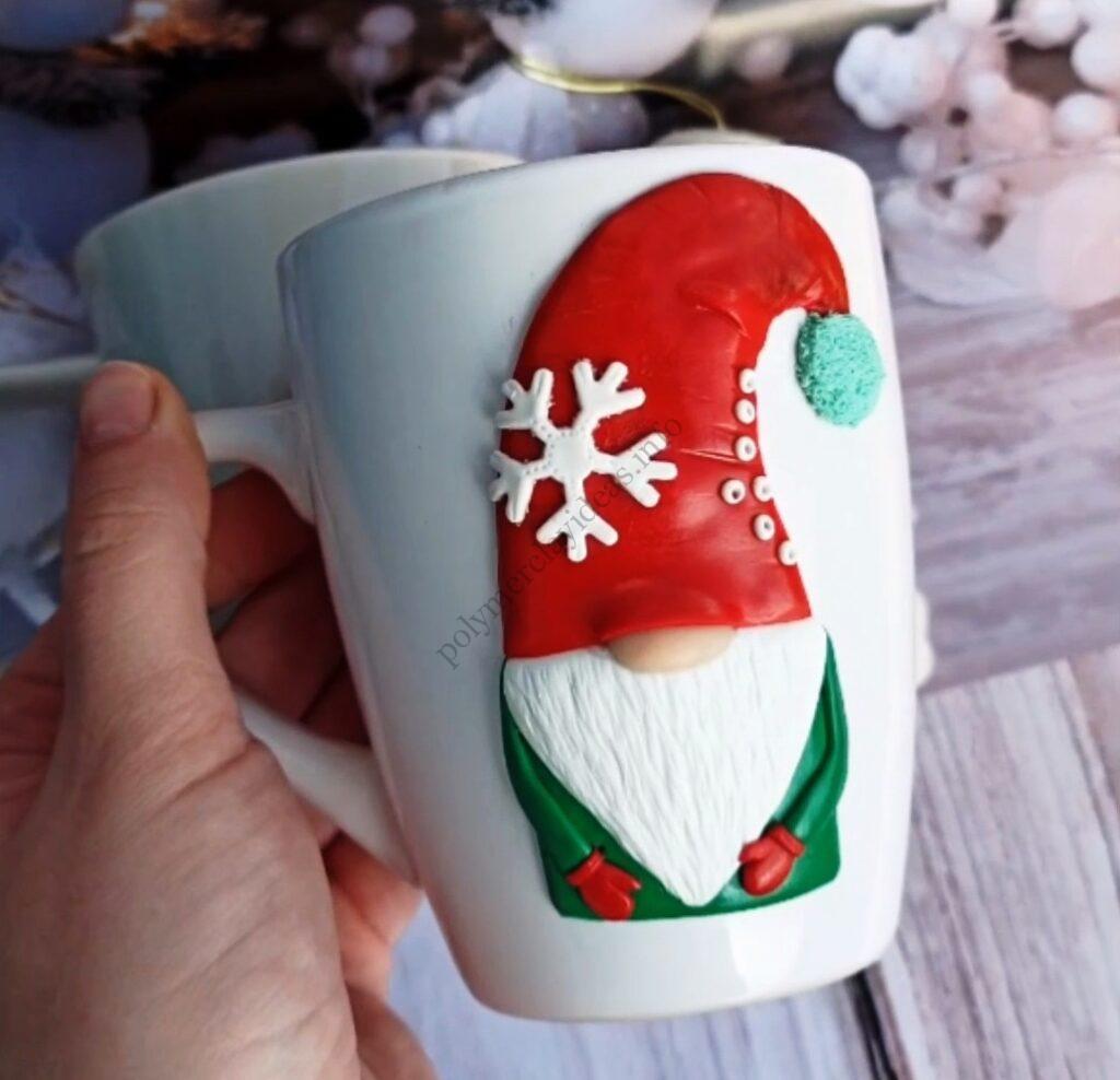Christmas polymer clay decor ideas: Gnome on a mug