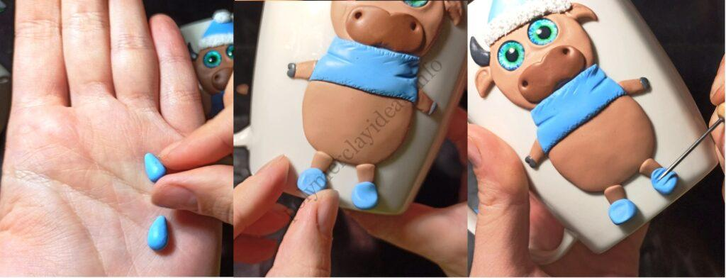 13. The mug decor with polymer clay: New Year's bull/ The photo tutorial on sculpting