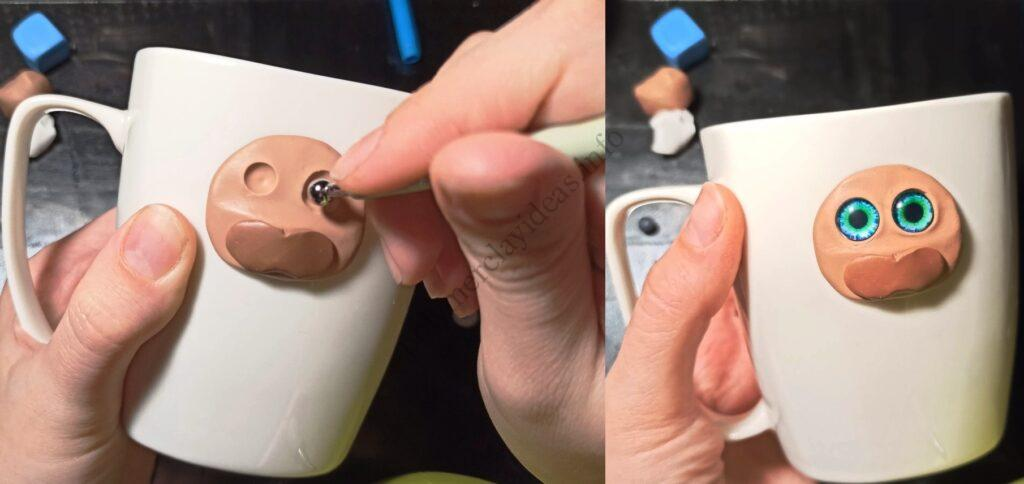 4. The mug decor with polymer clay: New Year's bull/ The photo tutorial on sculpting