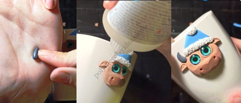 8. The mug decor with polymer clay: New Year's bull/ The photo tutorial on sculptin