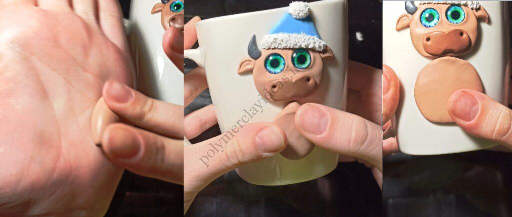 9. The mug decor with polymer clay: New Year's bull/ The photo tutorial on sculpting