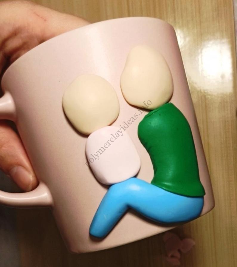 4. Polymer clay mug decor: Woman with a child. Photo tutorial