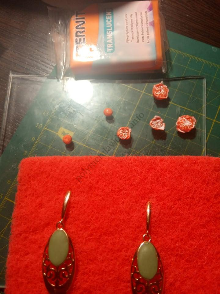 6. A photo tutorial on sculpting earrings with miniature Tangerines from polymer clay