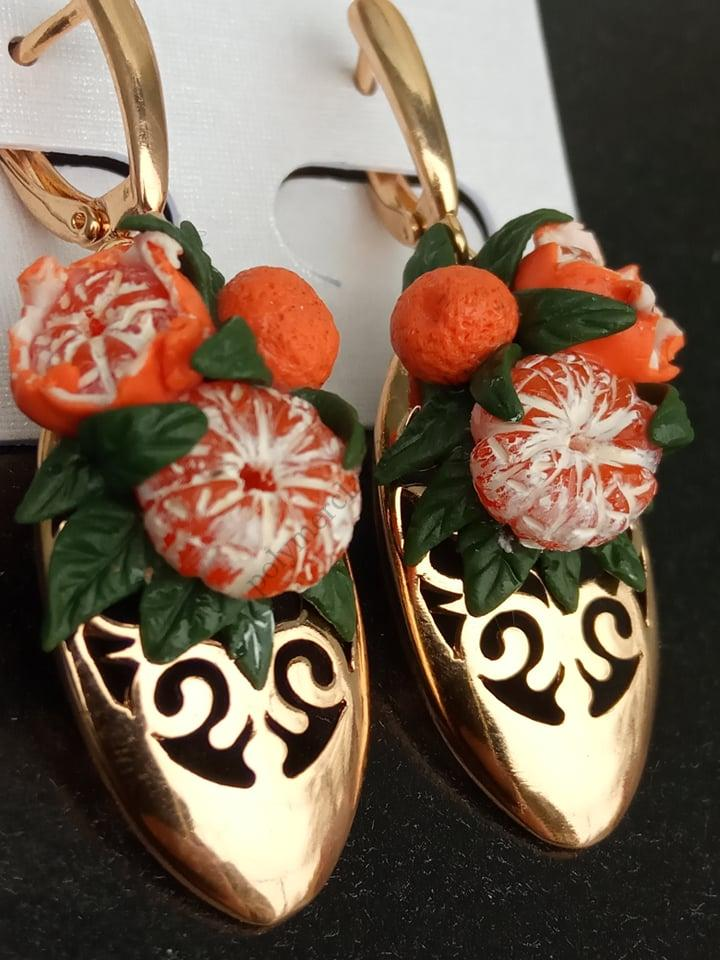 Earrings miniature Tangerines from polymer clay