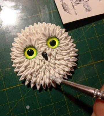 "6 Polymer clay brooch ""Cute Owl"". A photo tutorial on modeling"