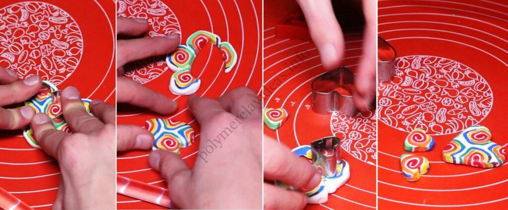 6 Polymer clay cane tutorial - Creation of polymer clay jewelry «Rainbow spiral»