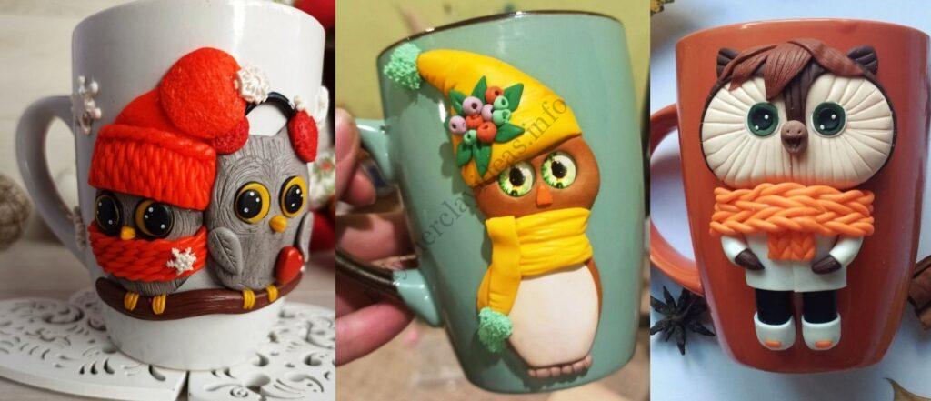 Polymer clay decor: Owls