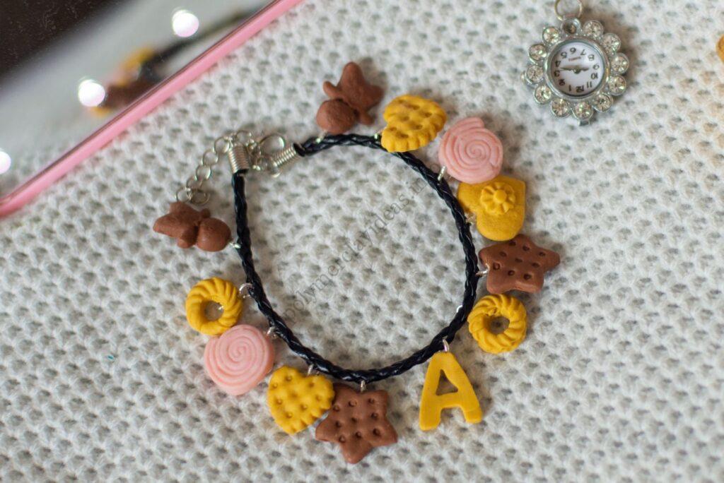 Bracelet of mini polymer clay cookies
