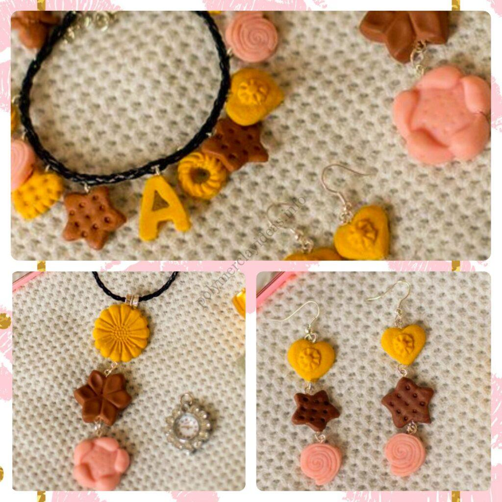 Jewelry set: bracelet, pendant, earrings made of mini polymer clay cookies