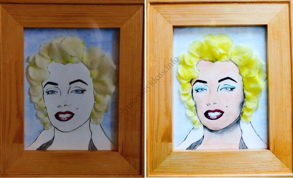 3D Portrait of Marilyn Monroe with polymer clay petals