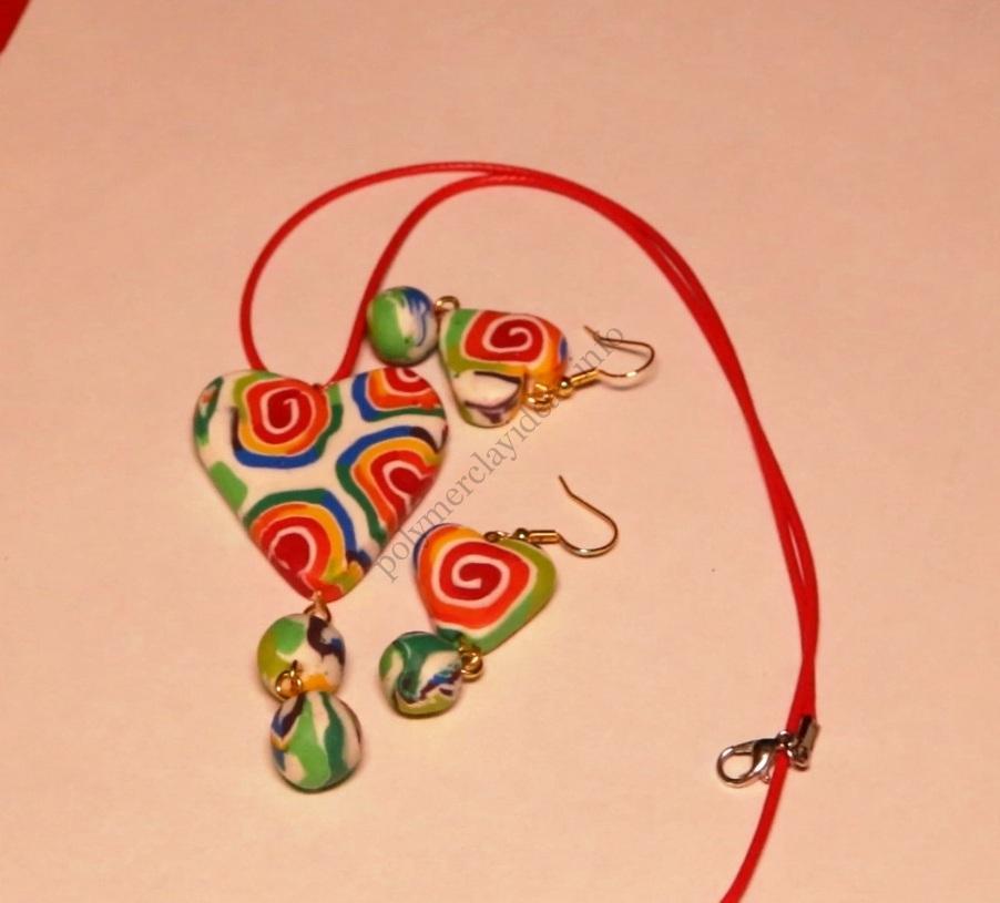 Creation of polymer clay jewelry «Rainbow spiral»